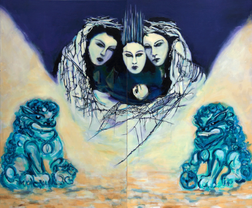 "Divine Child (diptych)  60"" x 72""  Oil on canvas  2020"