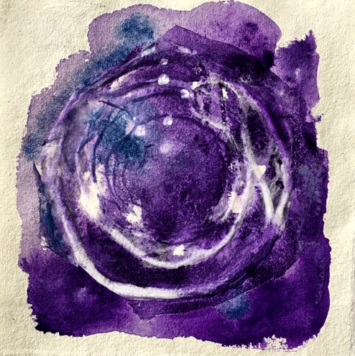 "Cosmos Night  8"" x 8""  Watercolor on paper  2020"