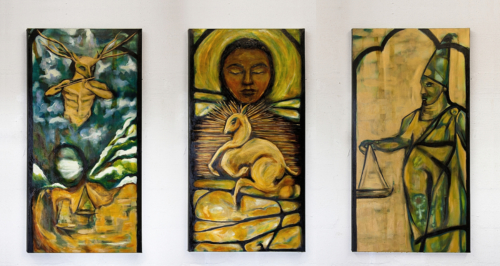 "James and the Golden Deer  36"" x 24"" each panel  Oil on canvas  Winter 2019"