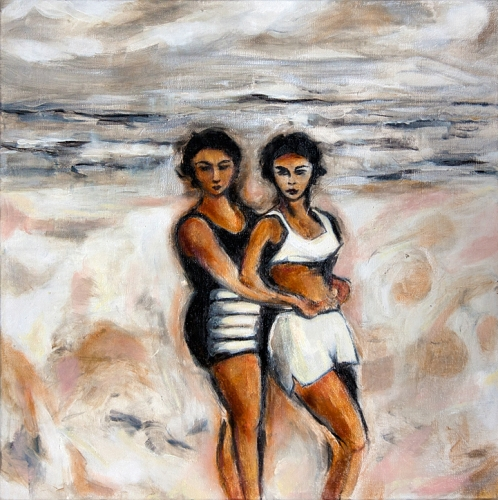 "Two Women  24"" x 24""  Oil on canvas  Fall 2017"